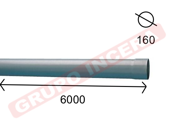 Tubo PVC Albañal 160 mm 6 Mt